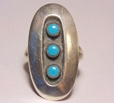 Navajo Native American Sterling Silver Petite Point Snake Eyes Turquoise Ring