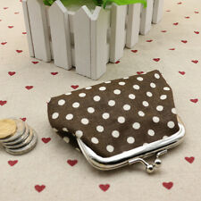 White Dots Small Wallet Change Coin Purse Hasp Clutch Card Holder Handbag Coffee