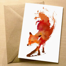 Vulpes – Funny Blank Art Birthday / Greetings Card – Quirky Abstract Fox 4 for 3