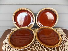 """Set of 4 Vintage Hull Oven Proof Brown Drip Bread Butter Plates 6 5/8"""" USA"""