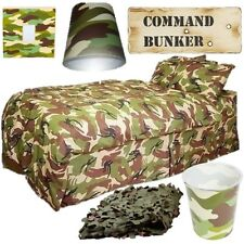KIDS ARMY CAMOUFLAGE BEDROOM SET BEDDING LIGHT SHADE NET SIGN BOYS GIRLS CADETS