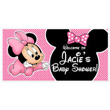 Baby Minnie Mouse Baby Shower Banner Personalized Baby Shower Pink Backdrop P...