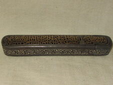 ANTIQUE PERSIAN STEEL GOLD&SILVER INLAY OPEN WORK PEN CASE