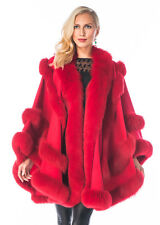 Madison Ave Mall Women's Red Cashmere Cape with Fox Fur Trim - Empress Style
