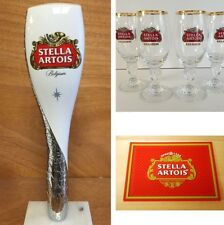 "Stella Artois Beer Tap Handle 12"" - (4) 15 cl Glasses - Bar Mat Combo Set NEW FS"