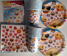 EMOJI - Birthday Party Supply Pack Kit for 16 w/ 136 Stickers & Table Cover