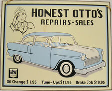 Honest Otto's Repairs Sales and Service  Car Mechanic Vintage Metal Sign