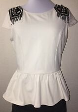NWT Bebe Cream Peplum Top Epaulette Shoulder Pat Bling Chain Bead Size Large $80