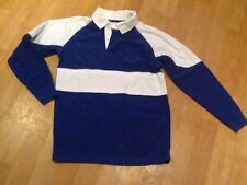SCHOOL UNIFORM PE REVERSIBLE BLUE & WHITE RUGBY TOP / SHIRT SIZE 34 / 36 ~ GC