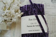"1y VTG 3/8"" FRENCH PURPLE CRUSHED PANNE VELVET MILLINERY RIBBON TRIM VESTMENT"