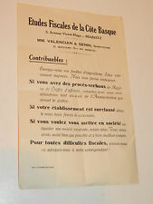 MM.VALENCIAN & SERIN ancien DOCUMENT ETUDES FISCALES de la cote BASQUE bayonne