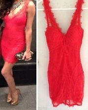 NWT bebe red lace Dress XS 0 2 Nude Lace Overlay V Neck Corset Bustier top