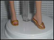 SHOES BARBIE 007 LIVE & LET DIE DOLL MODEL MUSE GOLD SLIDE MULES PEEP TOE SANDAL