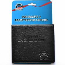 "Black CAR INSURANCE REGISTRATION HOLDER WALLET 5.25""x4.6"" Embossed Faux-Leather"