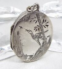 Antique Victorian Sterling Silver Aesthetic Japanese Crane Bird Locket Necklace