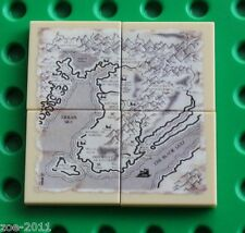Lego 4x Tan Tile 2x2 Custom Printed Map Design NEW