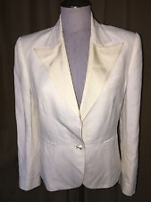 Ralph Lauren made in Italy white w/off white satin collar blazer jacket 8