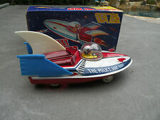 The Milky Way Boat sparkling space ship tin friction toy box China 1970s MF 215