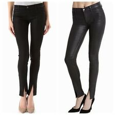 NEW $229 J BRAND Black VERA Coated Steal SLIT HEM LEATHERETTE Skinny Jeans 24
