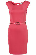 BNWT RARE HOT PINK BELTED SCUBA BODYCON DRESS SIZE 14 £42 TOP SUMMER SALE LOOK