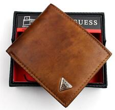 NEW GUESS MEN'S LEATHER CREDIT CARD ID WALLET PASSCASE BILLFOLD TAN 31GU22X017