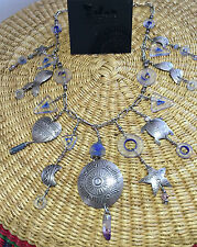 Tabra Treasure charm necklace blue glass and crystal sterling silver links