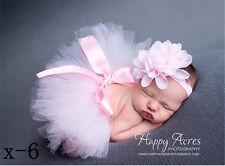 Set Baby Girl Newborn Flower Headband+Tutu Skirt Photo Prop Photography Costume