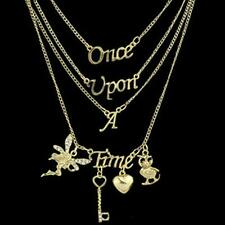 """Charm Women """"Once Upon A Time"""" Rhinestone  Letter Pendant Multilayers Necklace"""