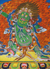 "16"" NATURAL MINERAL COLOR SILKPRINT TIBETAN THANGKA: GREEN VAJRAPANI"