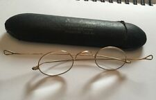 Antique Key Lense Oval Rolled Gold Wire Loop End Framed Glasses Spectacles Cased