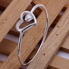 -UK- 925 Silver Heart Bangle Bracelet Interlocking Big Small Love Infinity (082)