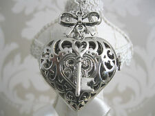 "New ""KEY TO MY HEART"" Silver Steampunk Heart Pocket Watch Necklace Pendant Gift"