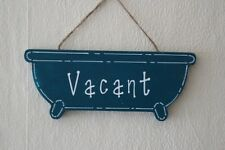 Decorative Handcrafted Wooden Bath shaped Jaded Teal/White ENGAGED/VACANT Sign