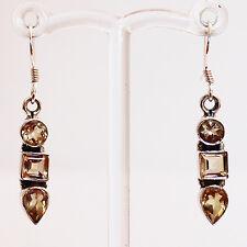 925 Silver Semi-Precious Yellow Citrine Drop Earrings