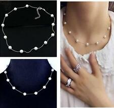 Lady Elegant Pendant Chain White Pearl Choker Statement Collar Clavicle Necklace