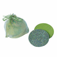 SET OF 6 LIGHT GREEN BEADED SATIN-BACKED COASTERS, IN GIFT BAG, Many available