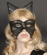 HALLOWEEN CAT WOMAN & EARS SEXY LACE BLACK EYE MASK~MASQUERADE~EM329~FREE PP UK