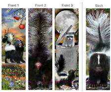 3-SKUNK BOOKMARK City Country Wildlife Raccoon Animal PET ART Book Card Figurine