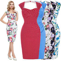 Vintage Retro 1950s 1940's Wiggle Pencil Evening Midi Dress Formal Party Dresses
