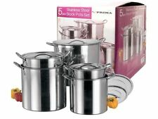 NEW 5 PC STAINLESS STEEL LARGE COOKING 5PC CATERING STOCK POTS WITH HANDLES LIDS