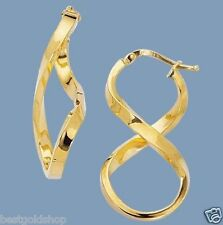 "1 1/4"" Polished Twisted Figure 8 Hoop Earrings Real 14K Yellow Gold 2.1gr"