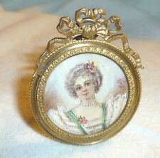 Antique French Portrait Miniature Painting of a Woman Gilt Bronze Frame Signed