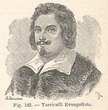 B1269 Evangelista Torricelli - Incisione antica del 1931 - Engraving