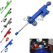 FXCNC Motorcycle Adjustable Steering Damper Stabilizer Blue For KAWASAKI