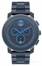 New Movado Men's Swiss Chronograph Bold Navy Polyurethane Steel Band 3600270