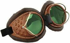 NEW Machinist Goggles Bronze with Green Lenses Burning Man Halloween Steampunk
