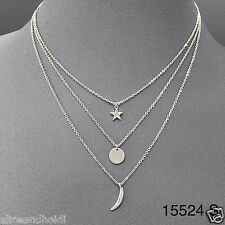 Dainty Classy Triple Layered Silver Chains Star Crescent Moon Pendant Necklace