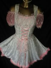 PINK SISSY BUNNY MAIDS DRESS AND WHITE SILKY SATIN RUFFLES TV DRESS SIZE LARGE