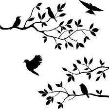 Birds on 3 branches  wall vinyl decal