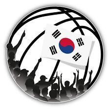 South Korea Flag Basketball Fans Inside Ball Car Bumper Sticker Decal 5'' x 5''